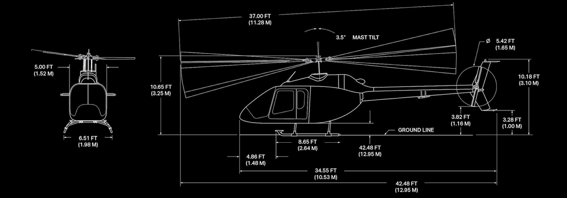 Image des caractéristiques du Bell 505