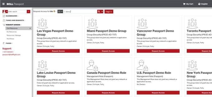 Image de l'écran de recherche de Passeport Bell