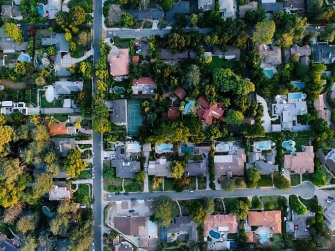 Image d'un quartier à la verticale
